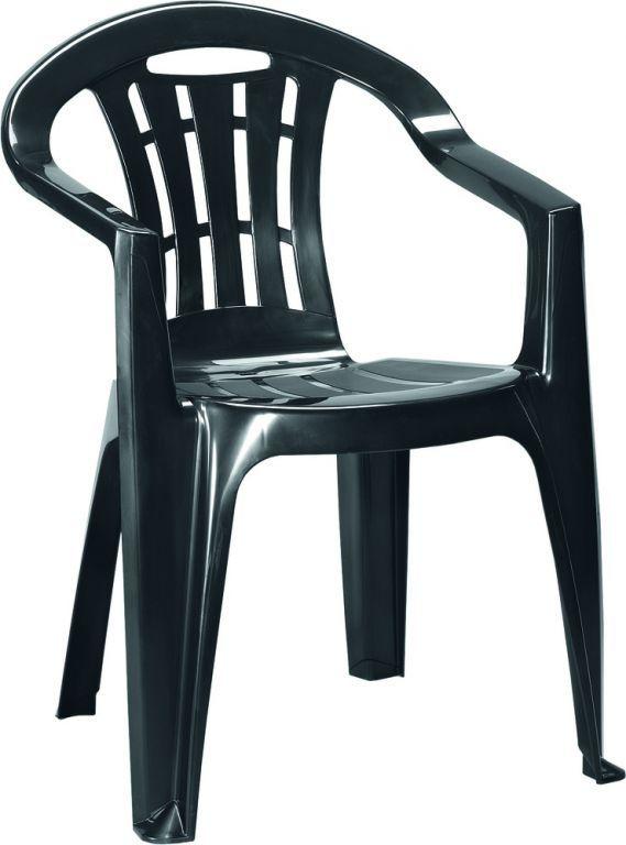 Levná plastová židle na zahradu / terasu, lesklá, grafit