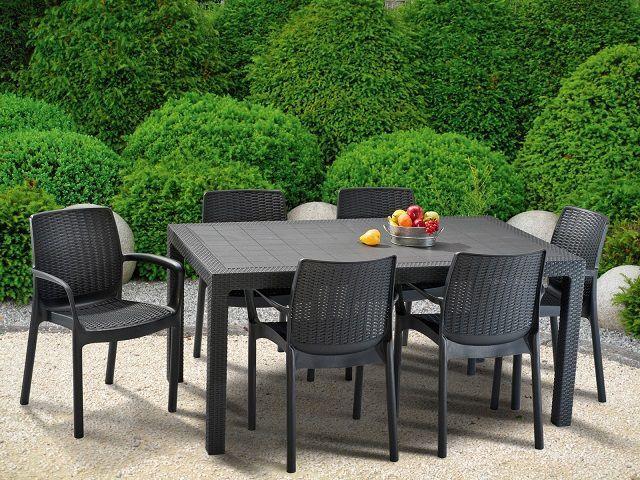 6 ks plastové zahradní křeslo, moderní vzhled, stohovatelné, cappuccino