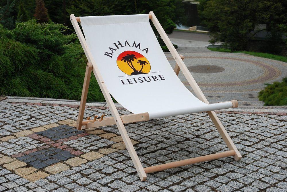 Lehké dřevěné relaxační lehátko, potisk Bahama