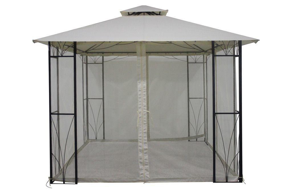 Kovový altán s textilní stříškou- čtvercový, 3x3 m, moskytiéra, slonová kost