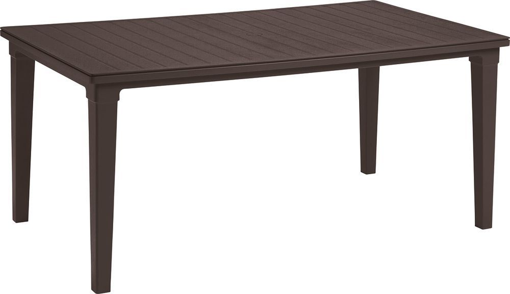 Venkovní jídelní stůl obdélníkový, plast, odnímatelné nohy, hnědý
