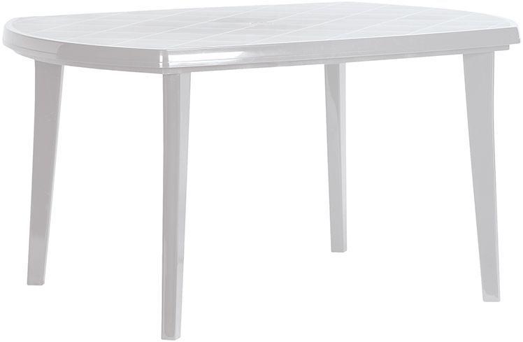 Plastový oválný stůl pro 6 osob, venkovní, světle šedý