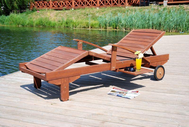 Luxusní dřevěné polohovací lehátko z masivu, lakovaná borovice