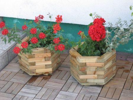 Dekorativní dřevěný květináč šestiúhelníkový, impregnovaný, ø 51 cm