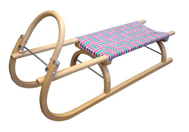 Dětské dřevěné sáňky 110 cm, textilní sedlo- barevné