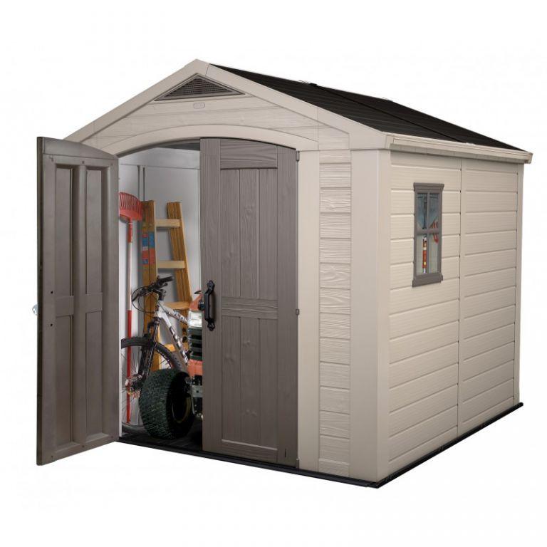 Plastový domek na nářadí, 255x256,5x243 cm, dvoukřídlé dveře