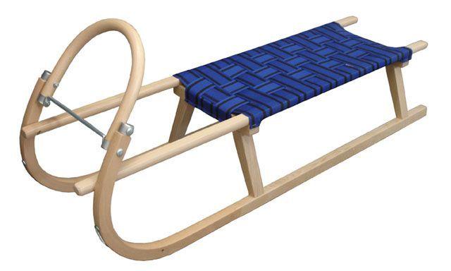 Sáně 125 cm dřevěné - modré, nosnost 120 kg