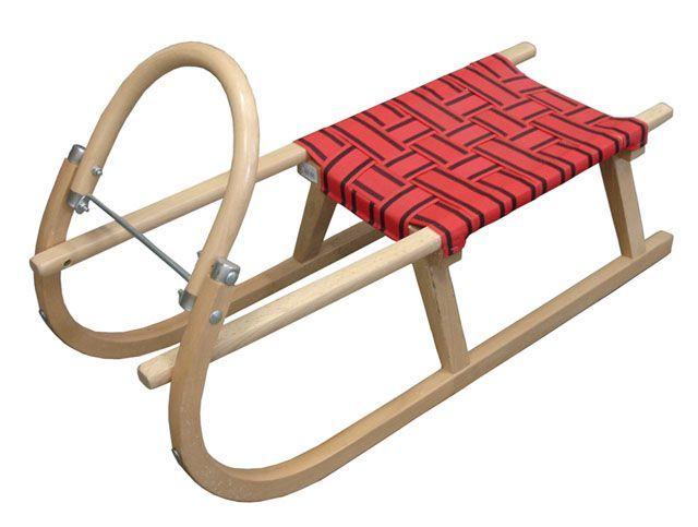 Dětské dřevěné sáňky 95 cm, textilní sedadlo, červené