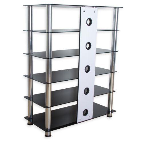 Vysoký TV a Hi-fi stolek, skryté vedení kabelů, sklo / kov, 113,5 cm