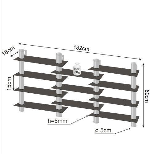 Designová sestava skleněných poliček 132 x 60 cm, černé sklo
