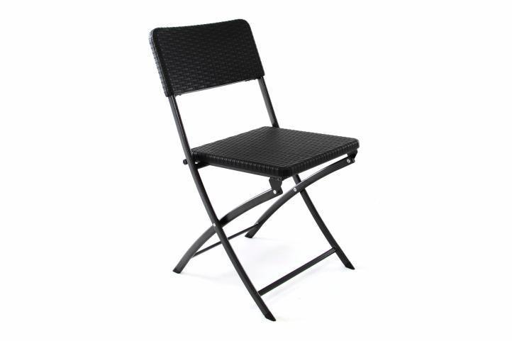 Menší kovová skládací židle- venkovní, plastový sedák a opěradlo