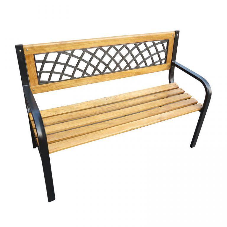 Odpočinková zahradní lavička- ozdobná, kov / dřevo, 118 cm