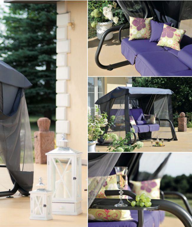 Velká luxusní zahradní houpačka s moskytiérou, šedá / fialová
