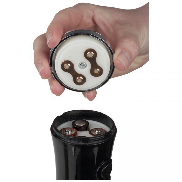 Designový elektrický mlýnek na pepř a sůl, na baterie, černý