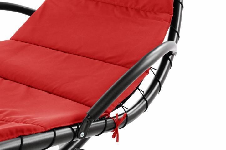 Luxusní houpací lehátko se stříškou, nosnost 150 kg, červené