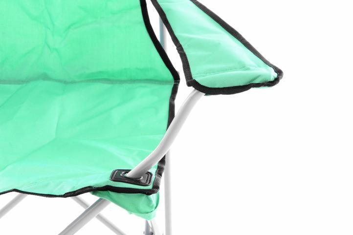 2 ks skládací rybářská židle s područkami, kov / textile, zelená