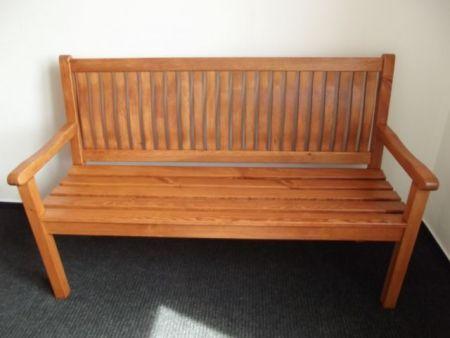 Zahradní lavička z masivního dřeva 150 cm, hnědá