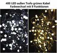 Blikající vánoční řětěz venkovní / vnitřní, bílý, 400 LED diod, 40 m
