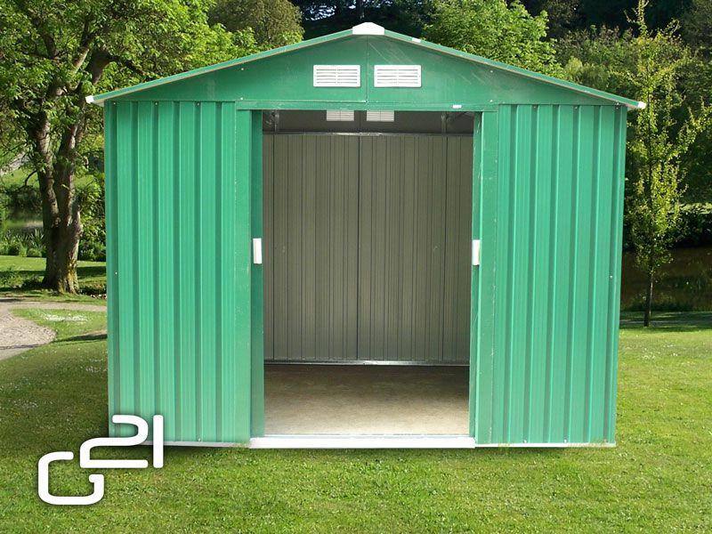 Kovový zahradní domek na nářadí zelený, 251x171x198 cm