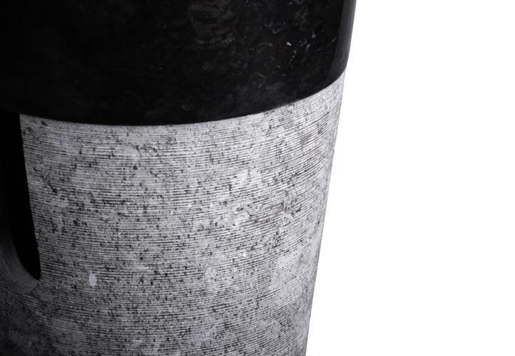 Kulaté umyvadls přírodního kamene- vč. podstavce, černá / šedá