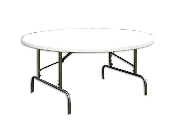 Větší venkovní skládací stůl, kulatý, kov / plast, průměr 160 cm