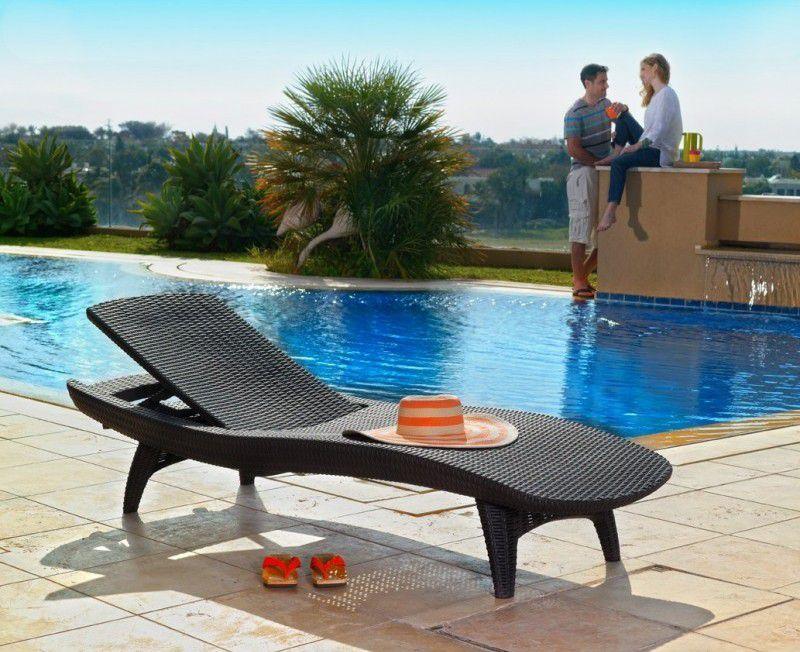 Anatomické luxusní lehátko k bazénu, imitace ratanu, antracit