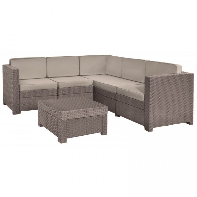 Ratanová rohová venkovní sestava nábytku, cappuccino