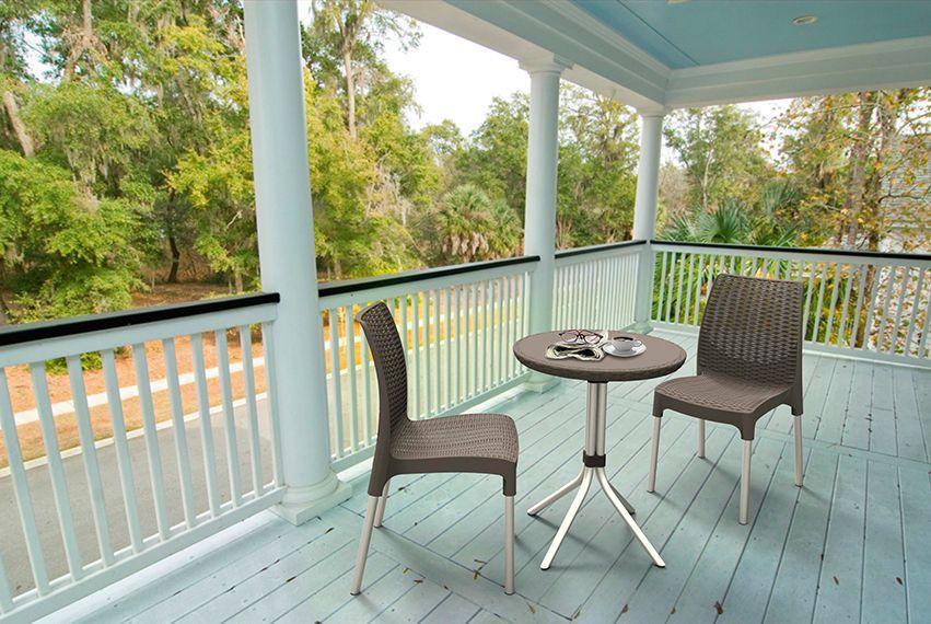 Menší set nábytku na balkon / terasu, hliník / plast, hnědá