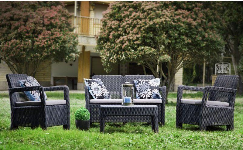 Designový plastový set venkovního nábytku, umělý ratan, hnědý