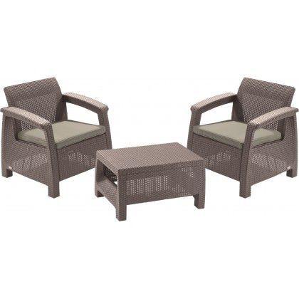 Menší ratanový set nábytku pro 2 osoby, na balkon / terasu, cappuccino