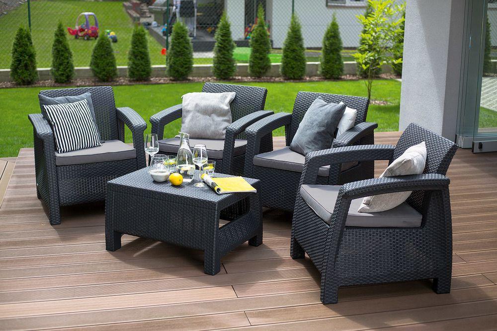 Zahradní ratanový nábytek, 4 křesílka + stolek, antracit
