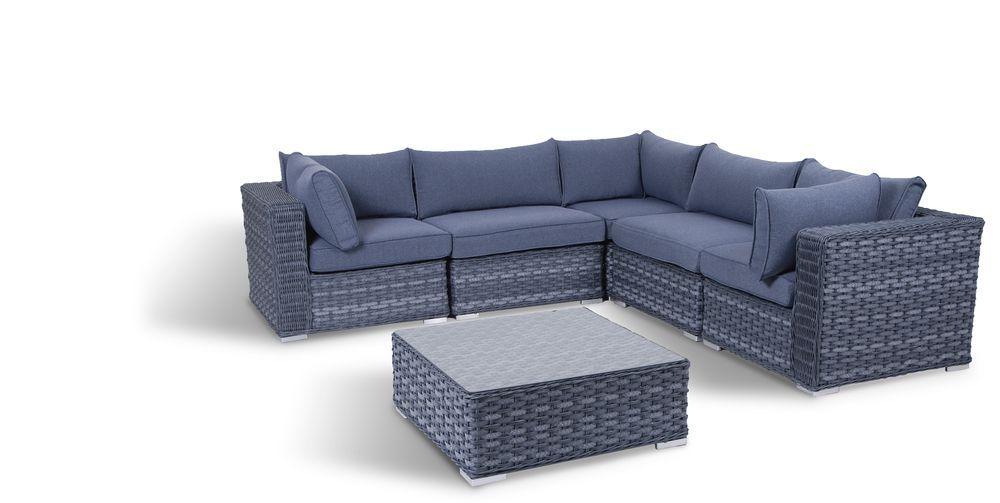 Velký luxusní rohový set zahradního nábytku, umělý ratan