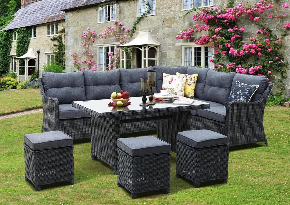Velký set zahradního nábytku s rohovou pohovkou, umělý ratan