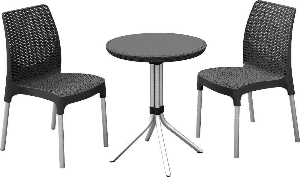 Menší sestava nábytku venkovní / vnitřní, kulatý stolek, antracit