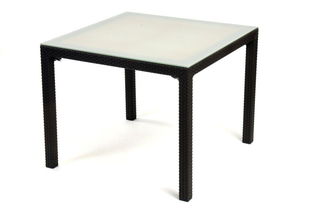 Čtvercový venkovní stůl se skleněnou deskou, antracit / mléčné sklo