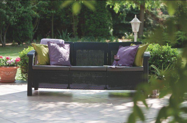 Ratanová venkovní lavice pro 3 osoby, vč. polstrů, antracit