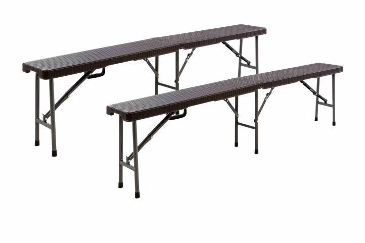 2 ks skládací kempinková lavice kov / plast, 180 cm, hnědá