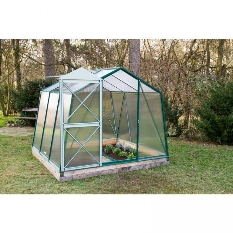 Menší zahradní skleník ocel / polykarbonát, 2,35x1,5x1,79 m