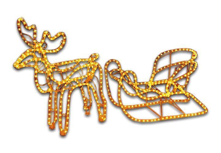 Velká svítící vánoční figurka- sob se saněmi venkovní / vnitřní