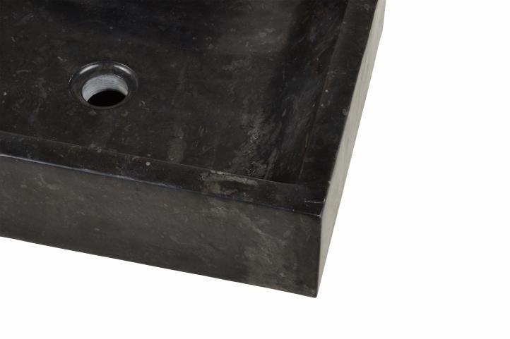 Kamenné obdélníkové umyvadlo na desku, leštěné, černé