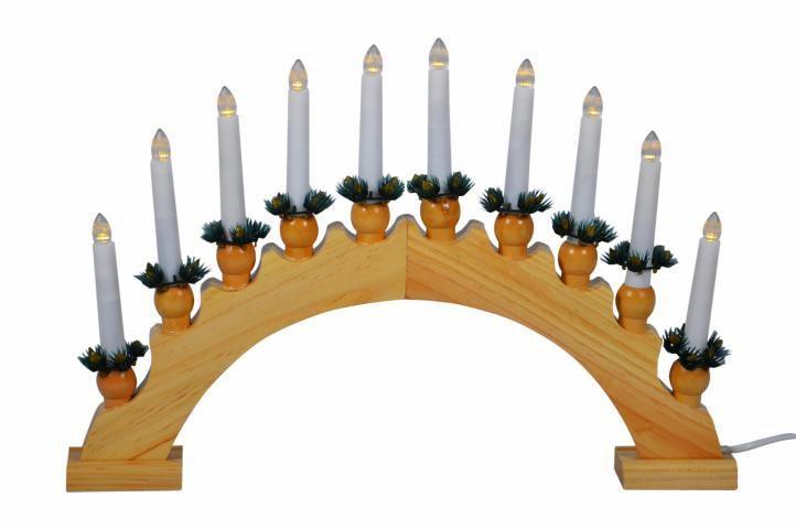 Elektrický vánoční svícen, 10 LED diod, dřevěný oblouk