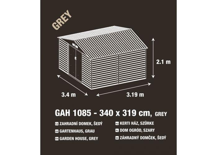 Kovový zahradní domek na nářadí šedý, 340x205x319 cm