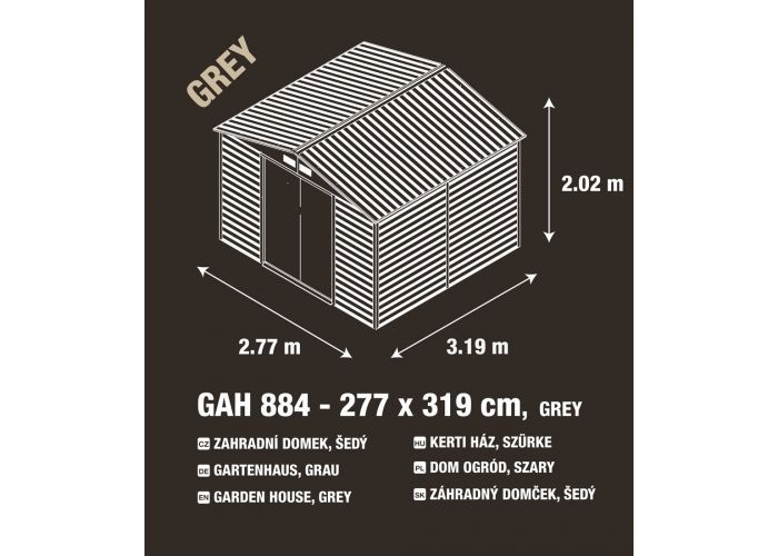 Kovový zahradní domek na nářadí šedý, 277x198x319 cm