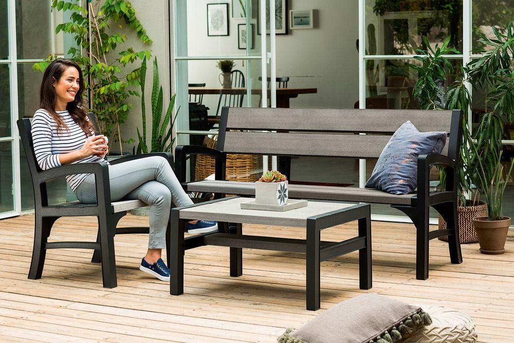 Plastová zahradní lavice pro 3 osoby, imitace dřeva, 150 cm