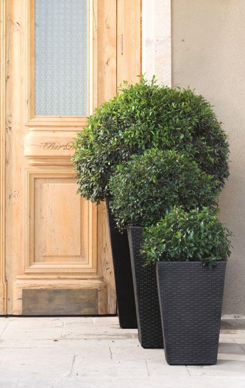 Moderní ratanový květináč venkovní / vnitřní, antracit, 57 cm