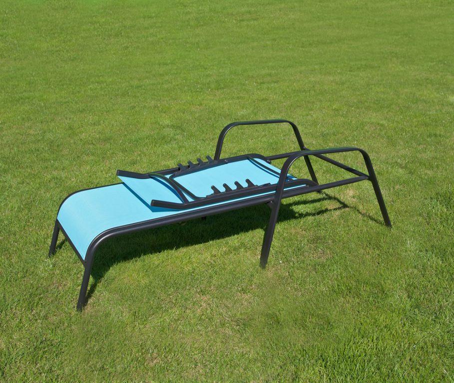 Kovové zahradní lehátko s textilní výplní, polohovací, světle modré
