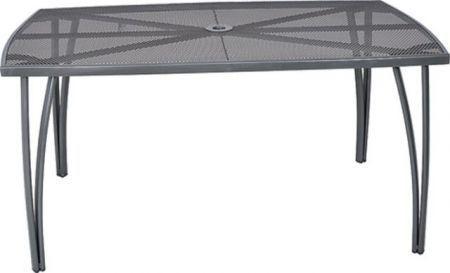Kovový obdélníkový stůl s drátěnou horní deskou (tahokov), černý