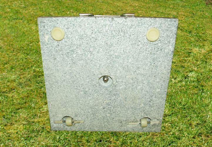 Těžký žulový stojan pod slunečník čtvercový, s kolečky, 50 kg