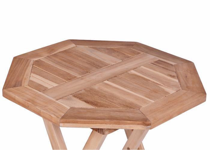 Menší dřevěný skládací stolek osmiúhelníkový, teak, průměr 60 cm