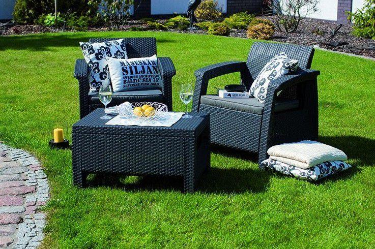 Menší sestava zahradního / balkonového ratanového nábytku, antracit